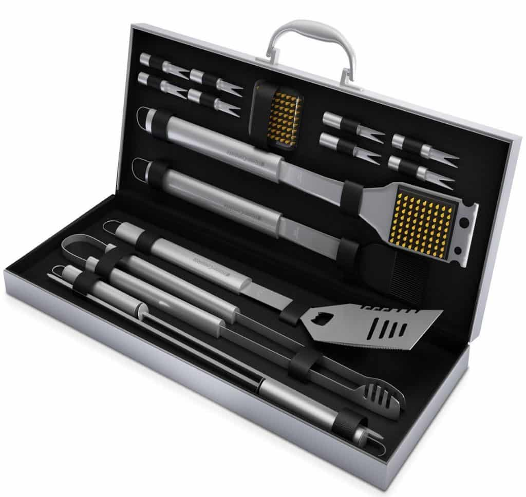 Home-Complete BBQ Grill Tools with 16 Barbecue Accessories