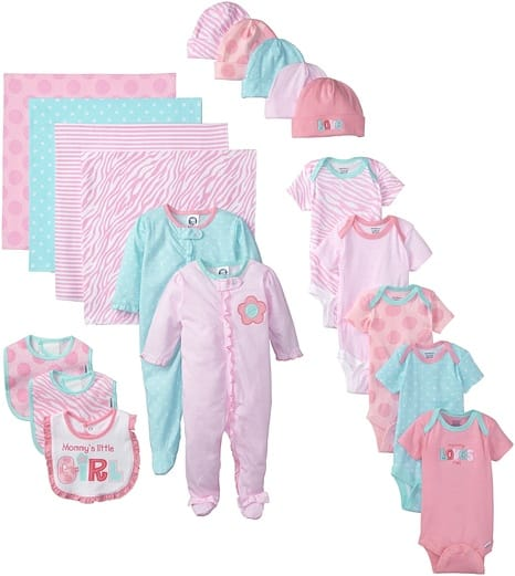 Gerber Baby Girls' 19-Piece Newborn Essentials Gift Set
