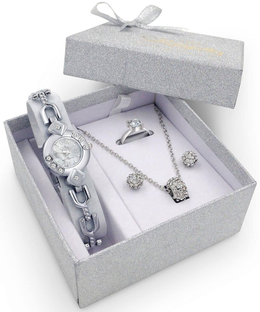 Royalty Silver Watch Jewelry Gift Set