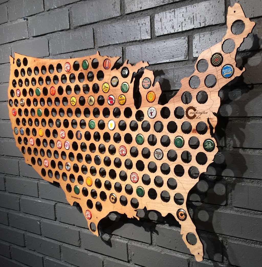 USA Beer Cap Map - Holds 177 caps