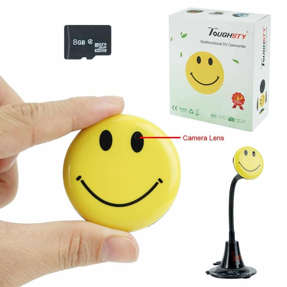 Toughsty Mini Hidden Camera Smiley Face Badge