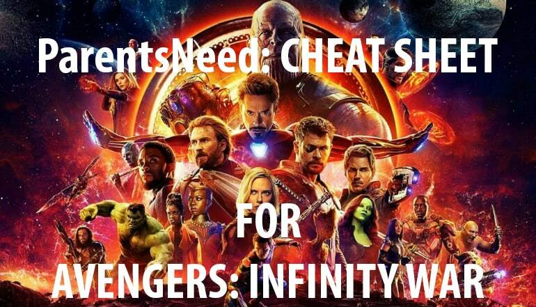 avengers infinity war cheat sheet
