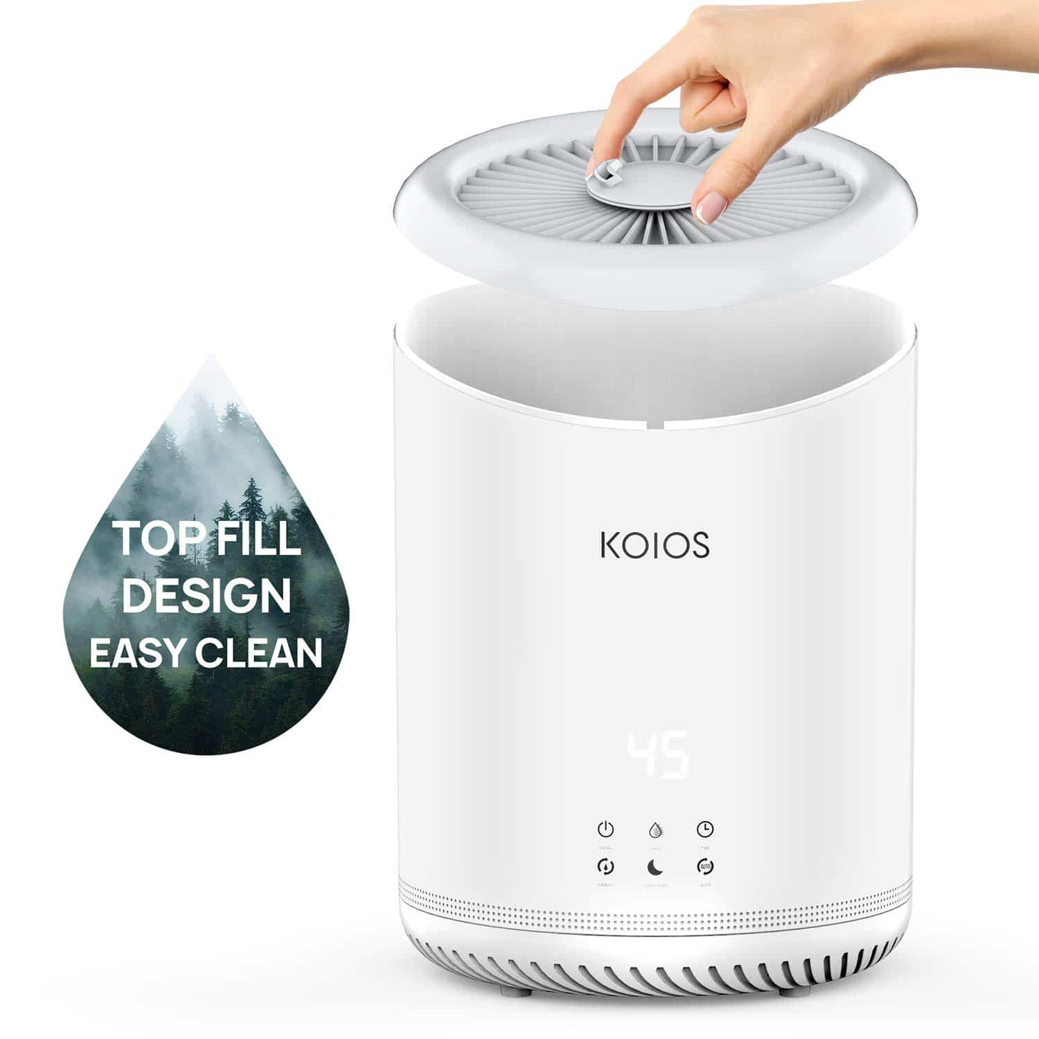top fill design air humidifier by KOIOS