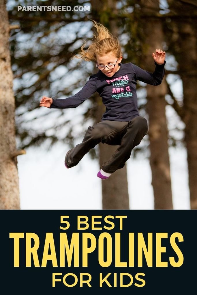 Young girl in mid air after bouncing up from trampoline