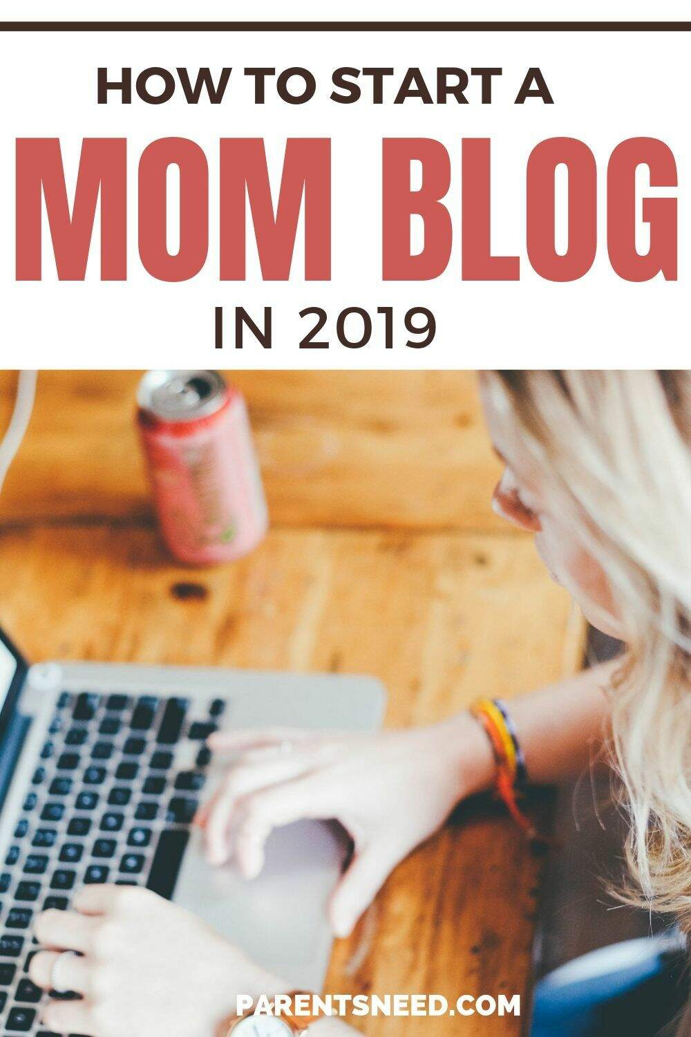 A mom blogging on her computer