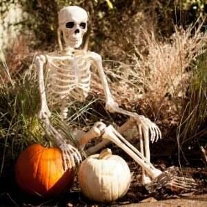 Posing skeleton halloween decoration