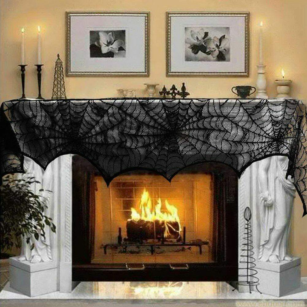 fireplace spiderweb mantle cover halloween decoration