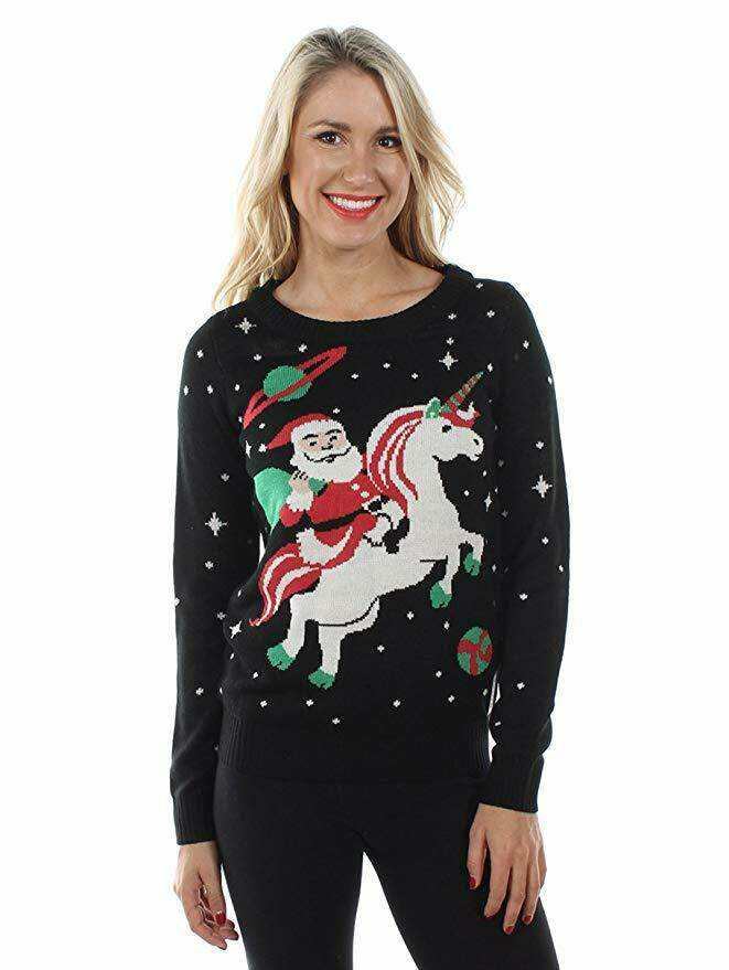 sweater with Santa riding on unicorn