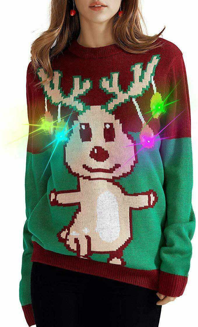 ugly reindeer on sweater that lights up
